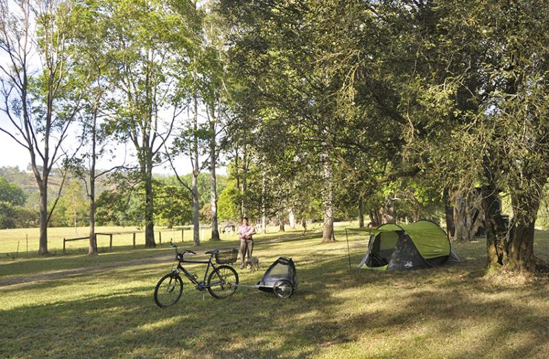 Bike campingWhat a great way to travel light. Bike camping at the Channon Village Campground