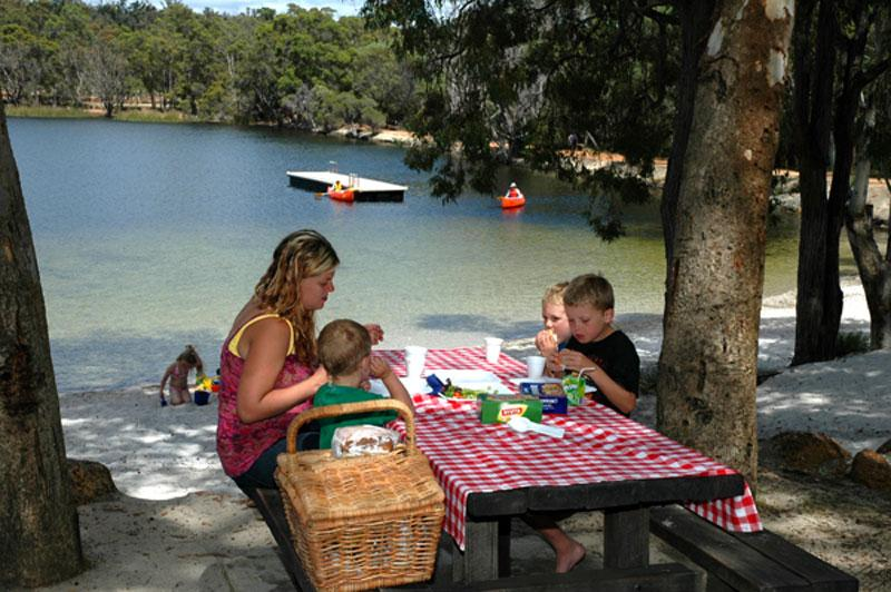 Swimming and picnicking at Lake LeschenaultiaWhat a great spot to introduce the family to camping