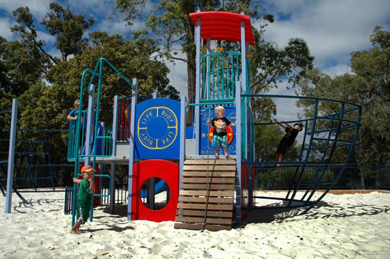 Childrens playground at Lake LeschenaultiaAs if sand, water and bush weren`t enough to keep the kids busy.
