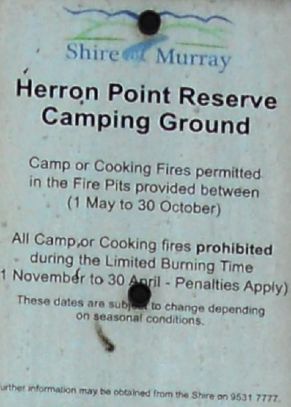 Heron PointSign regarding fire restrictions, and cooking fires in supplied fire pits